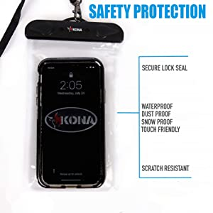 Kona Submariner Large Waterproof Phone Pouch - Swipe Sideways On Any iPhone, Samsung To Take Photos - Universal Pouch Bag For Cell Phones with Case Up to 7.2 inch Diagonal (Color: Extra Large Clear)
