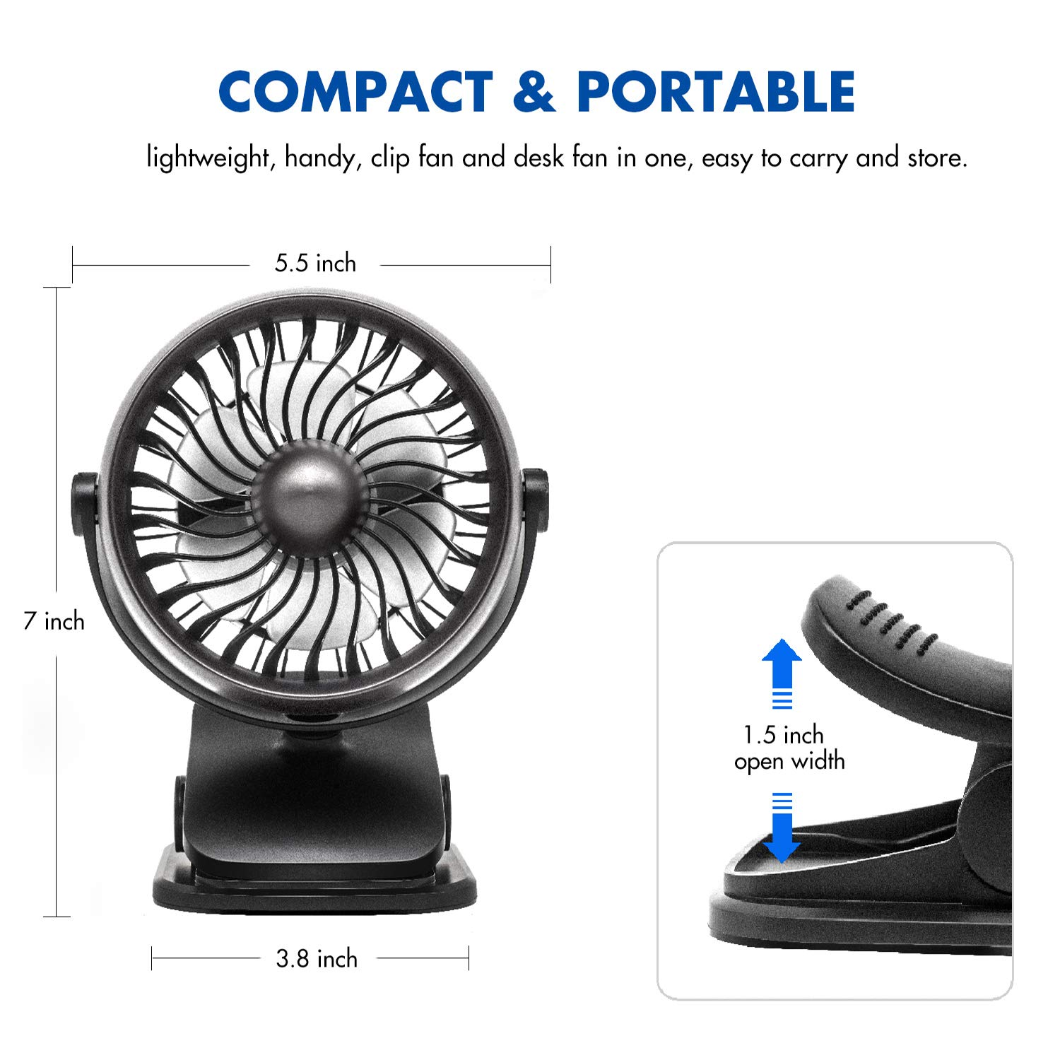 Whisper Quiet 360/° Rotation Adjustable Speed Personal Fan for Office Outdoor Portable Cooling USB Rechargeable 2200mAh High Capacity Stroller Fan Battery Operated Clip on Mini Desk Fan