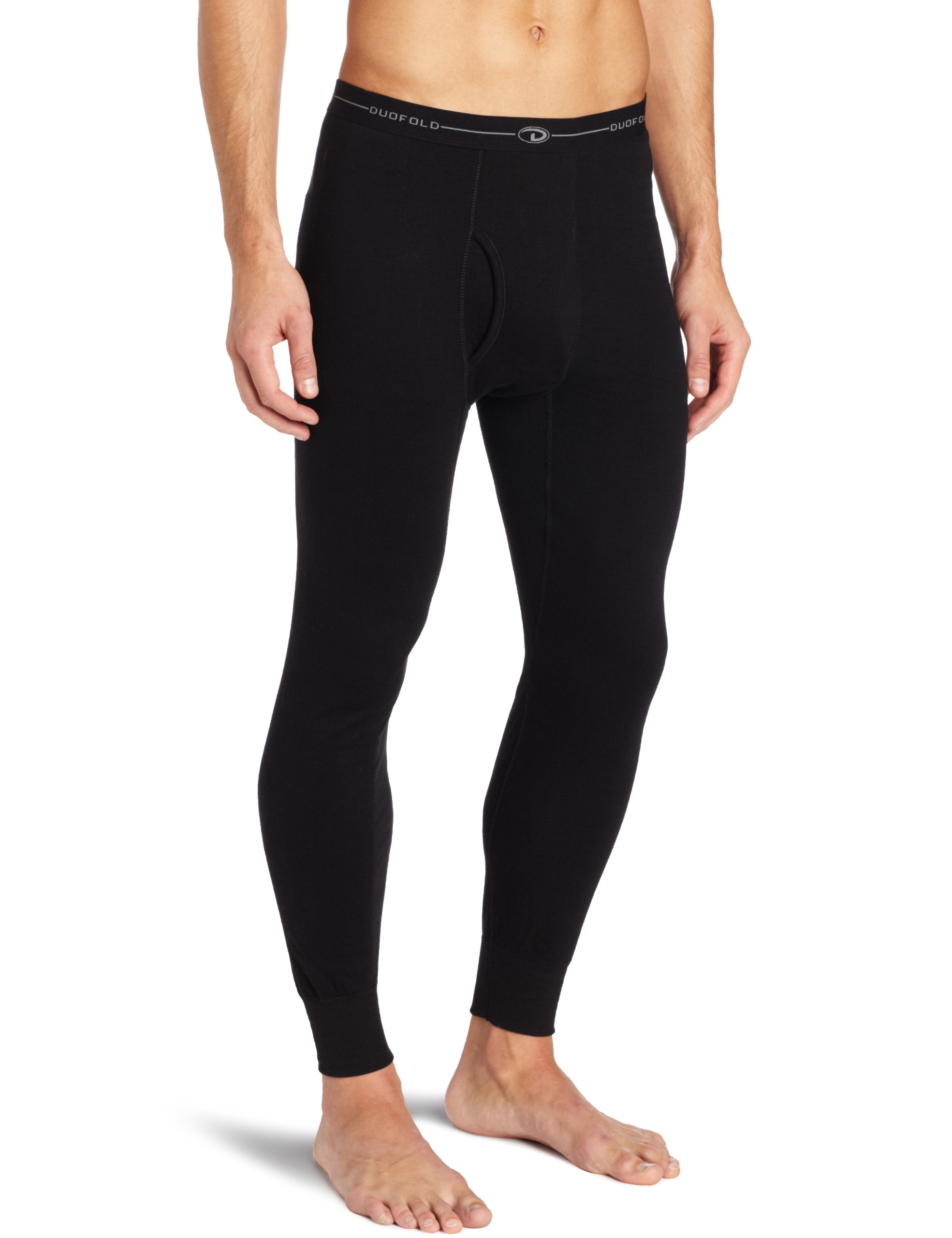 Duofold Men's Mid Weight Wicking Thermal Pant, Black, Large