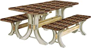 LCGGDB Earth Tones Picnic Table with Benches Covers,Lozenge Pattern in Patchwork Style Striped and Floral Rhombus Brown Shades 72