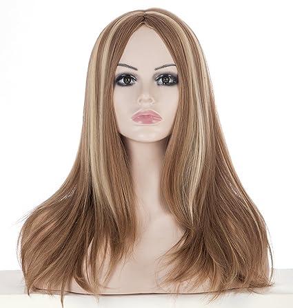 Spretty Mujer rubia encantadora mezclada Brown 2 tonos largo peluca rizada para el vestido diario y