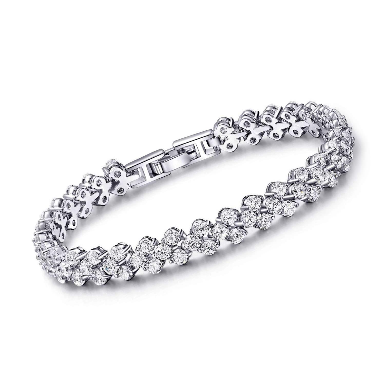 SHB Tennis Bracelet with Swarovski Elements Jewelry AAA Cubic Zirconia 18K Platinum Plated Crystal Lady Women CZ Tennis Bracelets Bangle Wedding Gift