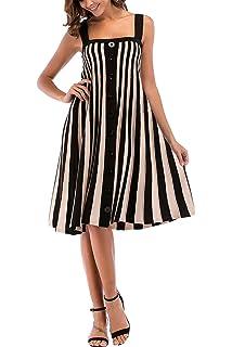 403b60491f2 YOSICIL Femme Robe Longue à Bretelle Été Tricot Bouton Sexy Robe à Rayures sans  Manches Chic Robe de Soirée…