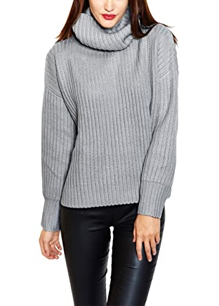ab5a9d8e1 Wink Gal Women s Cotton Fluffy Roll Neck Jumper Sweater Grey Size S ...