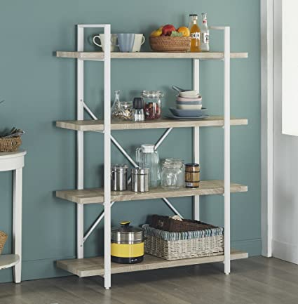 Homissue 4 Shelf Modern Style Bookshelf Light Oak Shelves White Metal Frame Open