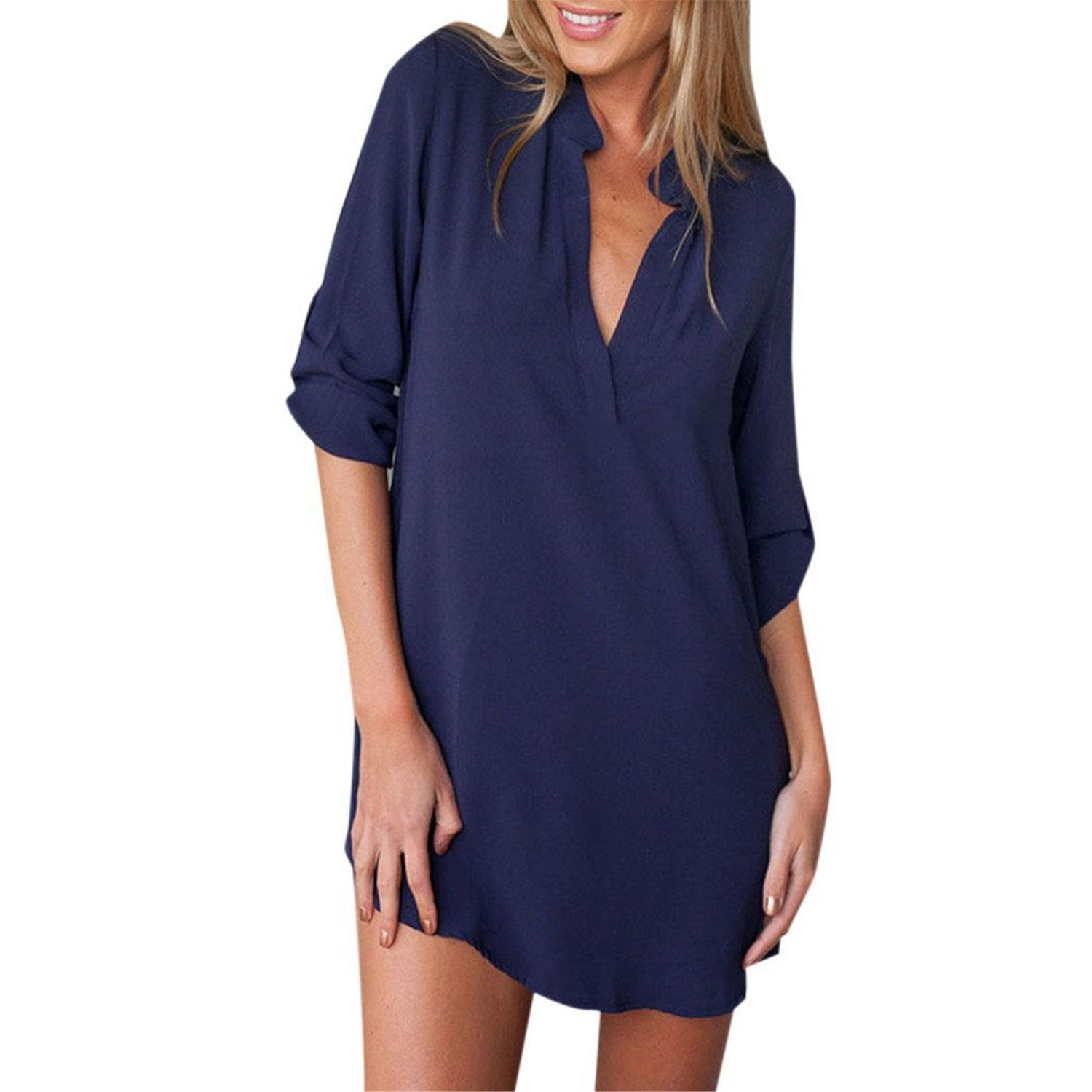 Tobyak Womens V Neck Long Sleeve Solid Shirt Dress NavyFree Fashion style at Amazon Womens Clothing store: