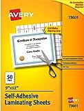 Avery Self-Adhesive Laminating Sheets, 9 x 12 Inch, Permanent Adhesive, 50 Clear Laminating Sheets