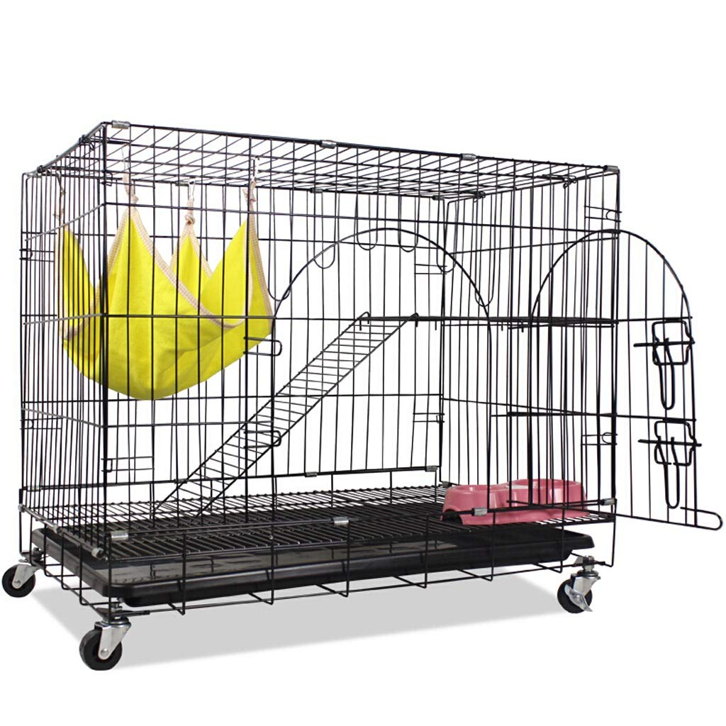 Black Zhijie-cwl 2-Tier Foldable Cat Home Cages Playpen Wire Pet Crate House with 1 Ramp Ladders&4 Casters 76 x 50 x 67 cm (LxWxH) (color   Black)