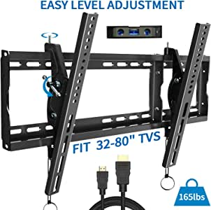 TV Wall Mount Bracket for Most 32-80 inch Level After Installation, Max VESA 600x400mm up to 165 lbs LED, LCD Curved Flat Screen TVs, Easy for TV Centering HDMI Cable Bubble Level Included by FOZIMOA