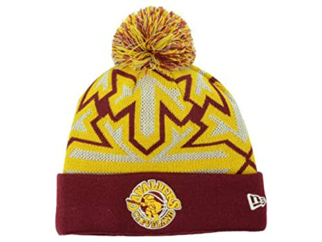 official photos 8f3db 35a96 ... cheapest new era cleveland cavaliers adult cuff knit beanie w pom one  size maroon gold 7e2a4