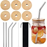 6 Sets Jar Lids with Straw Hole, Regular Mouth Bamboo Jar Lids Compatible with Mason Jar and 4 pieces Reusable Stainless Stee