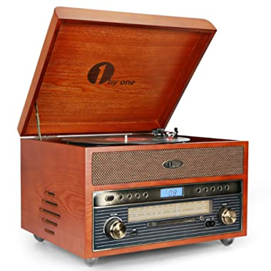 1byone Nostalgic Wooden Turntable Bluetooth Vinyl Record Player AM/FM, CD, MP3 Recording to USB, AUX Input Smartphones & Tablets RCA Output