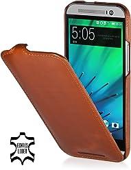 StilGut UltraSlim, housse en cuir pour HTC One M8 & HTC One M8s, en cognac