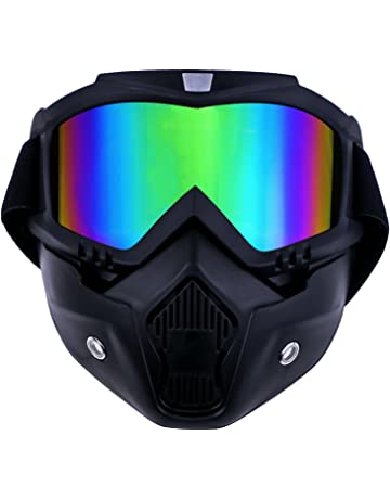 a3152dfc7656f0 TedGem Masque Moto Masque Noir et Lunette, Masque de Moto Lunettes  Détachables et Filtre de