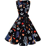 Bridesmay Women's 50s New Year Vintage V-Neck Retro Rockabilly Swing Cocktail Party Dress