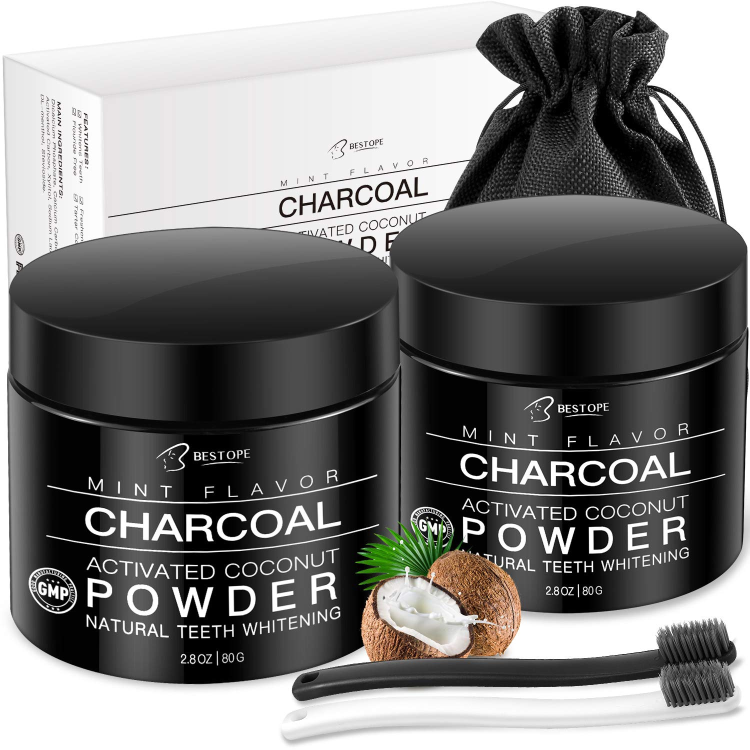 Teeth Whitening[2 Pack],BESTOPE Organic Activated Charcoal Powder with 2 Toothbrushes,Safe and Natural Tooth Whitener for Teeth Stain Removal(4.2 Ounce) product image
