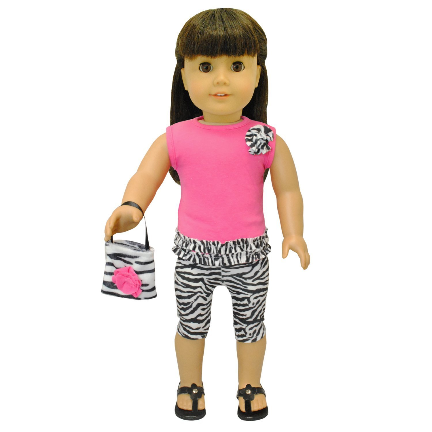Doll Clothes - Zebra Print Outfit Set Purse Pink Fits American Girl Doll, My Life Doll, Our Generation and other 18 inch Dolls by Pink Butterfly Closet