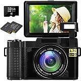 Digital Camera Vlogging Camera 30MP Full HD 2.7K Digital Camera with Retractable Flash Light Camera 3 Inch Flip Screen Vlog C