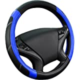 CAR PASS Line Rider Leather Universal Steering Wheel Cover fits for Truck,SUV,Cars (Black and Blue)