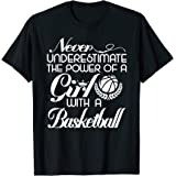 Never Underestimate A Girl Funny Basketball t-shirt