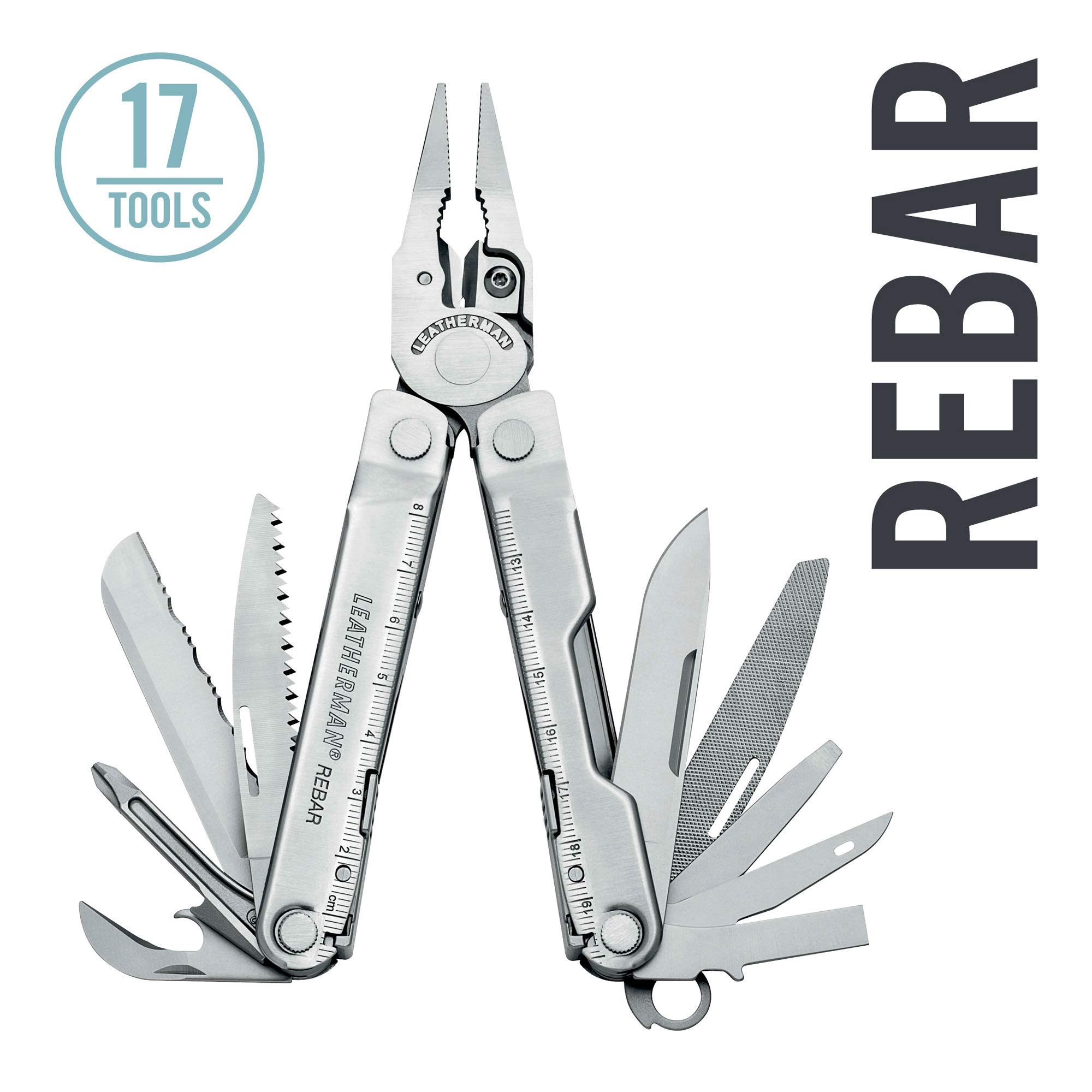 LEATHERMAN - Rebar Multitool with Premium Replaceable Wire Cutters and Saw, Stainless Steel with Nylon