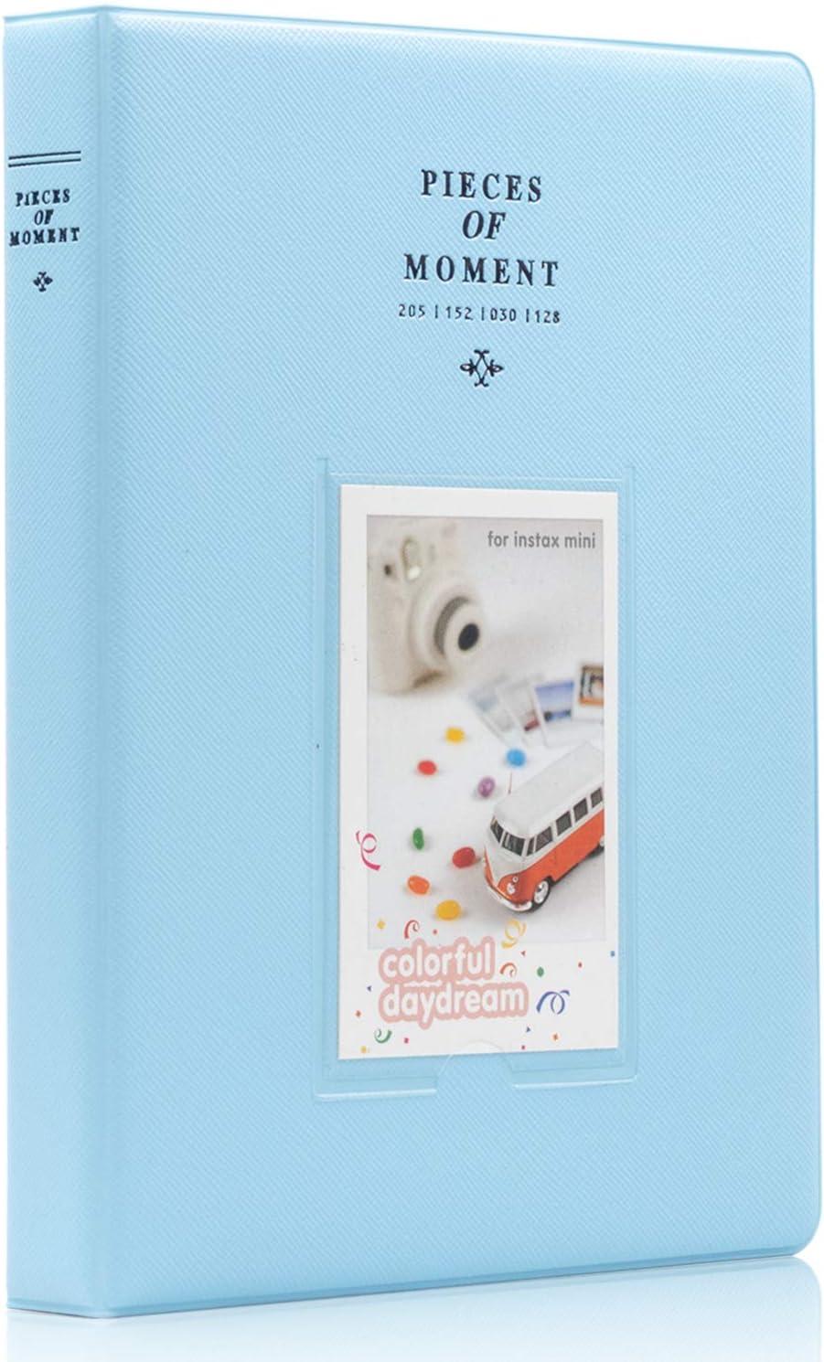 Ablus 128 Pockets Mini Photo Album for Fujifilm Instax Mini 7s 8 8+ 9 25 26 50s 70 90 Instant Camera & Name Card (Blue)