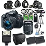 Canon EOS Rebel T5i DSLR Camera + 18-55mm IS STM Lens + Wideangle Lens + Telephoto Lens + 2 PC 32GB Memory Card + 4 PC Macro Bundle + Flash Light + Tripod + Remote Control + Case