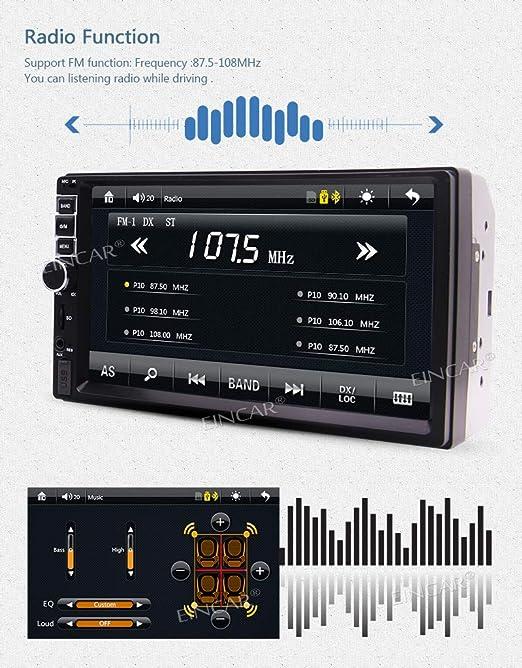 EINCAR 7 Pulgadas 2 DIN Coche de HD 1080P MP5 Bluetooth ESTšŠREO Reproductor MP5 con Pantalla tš¢ctil Digital Bluetotoh SWC FM Radio + Aux Impermeable ...