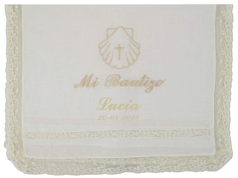 Modelo Par/ís azul Pack Bautizo PERSONALIZADO incluye pa/ño Bautismal y Vela de cera blanca