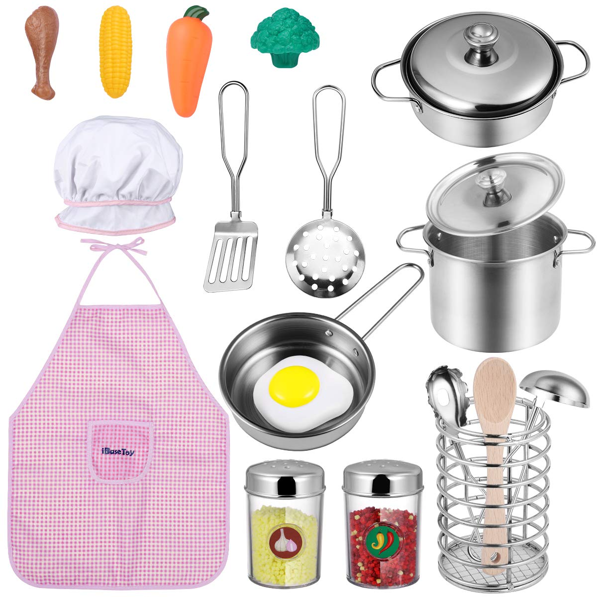 iBaseToy Kids Kitchen Pretend Play Accessories Toys - Cooking Toys Cookware Playset with Stainless Steel Pots and Pans Set, Cooking Utensils, Apron & Chef Hat, Play Food for Girls Boys Toddlers