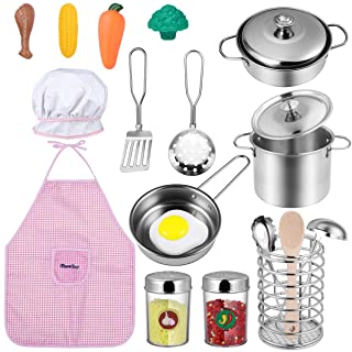 iBaseToy Kitchen Pretend Play Accessories Toys, Kids Cooking Set with Stainless Steel Cookware Pots and Pans Play Set, Cooking Utensils, Apron, Chef Hat, Play Foods for Toddlers Boys Girls Children
