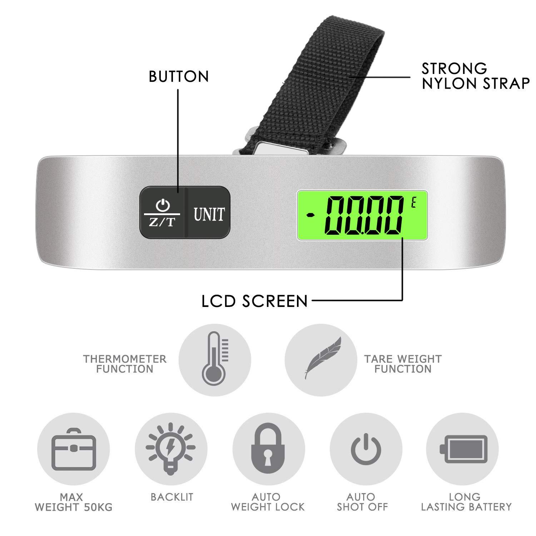 Luxebell B/áscula Digital 50g//50Kg Balanza de Equipaje de LCD Ergon/ómica para Maletas Viaje Plateado