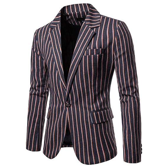 HLIYY Hommes Veste Blazer Elegant Slim Fit Costume Rayé De