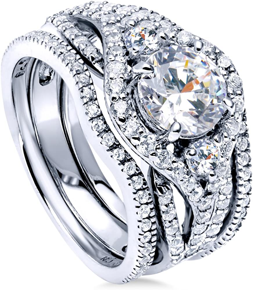 BERRICLE Rhodium Long Beach Mall Plated Sterling Silver Zirconia Round CZ Cubic OFFicial site