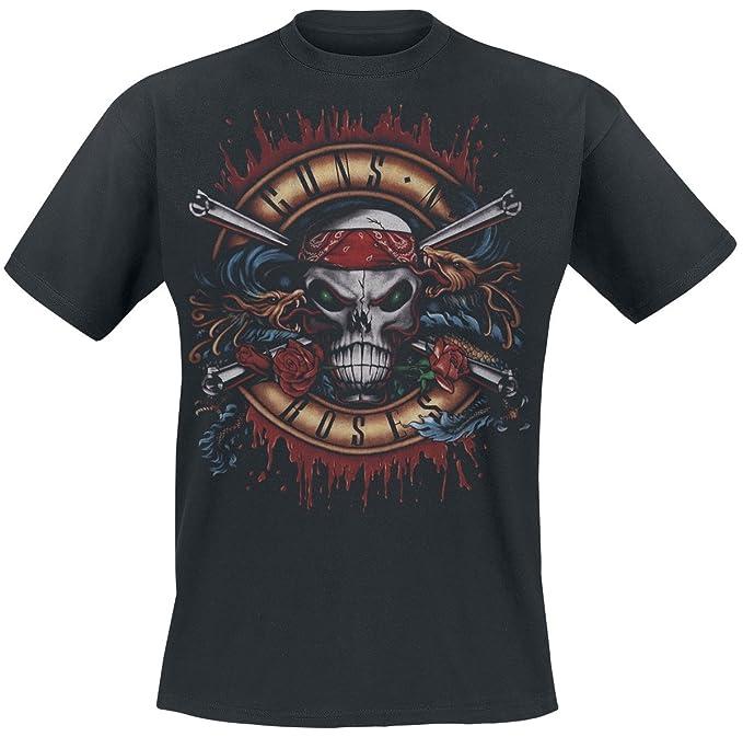Guns N Roses Green Light Skull Camiseta Negro 0VR2OmH8av