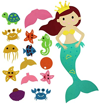 Faylapa Pin The Tail On Mermaid Party Game With Felt Detachable Ornaments For Child Birthday