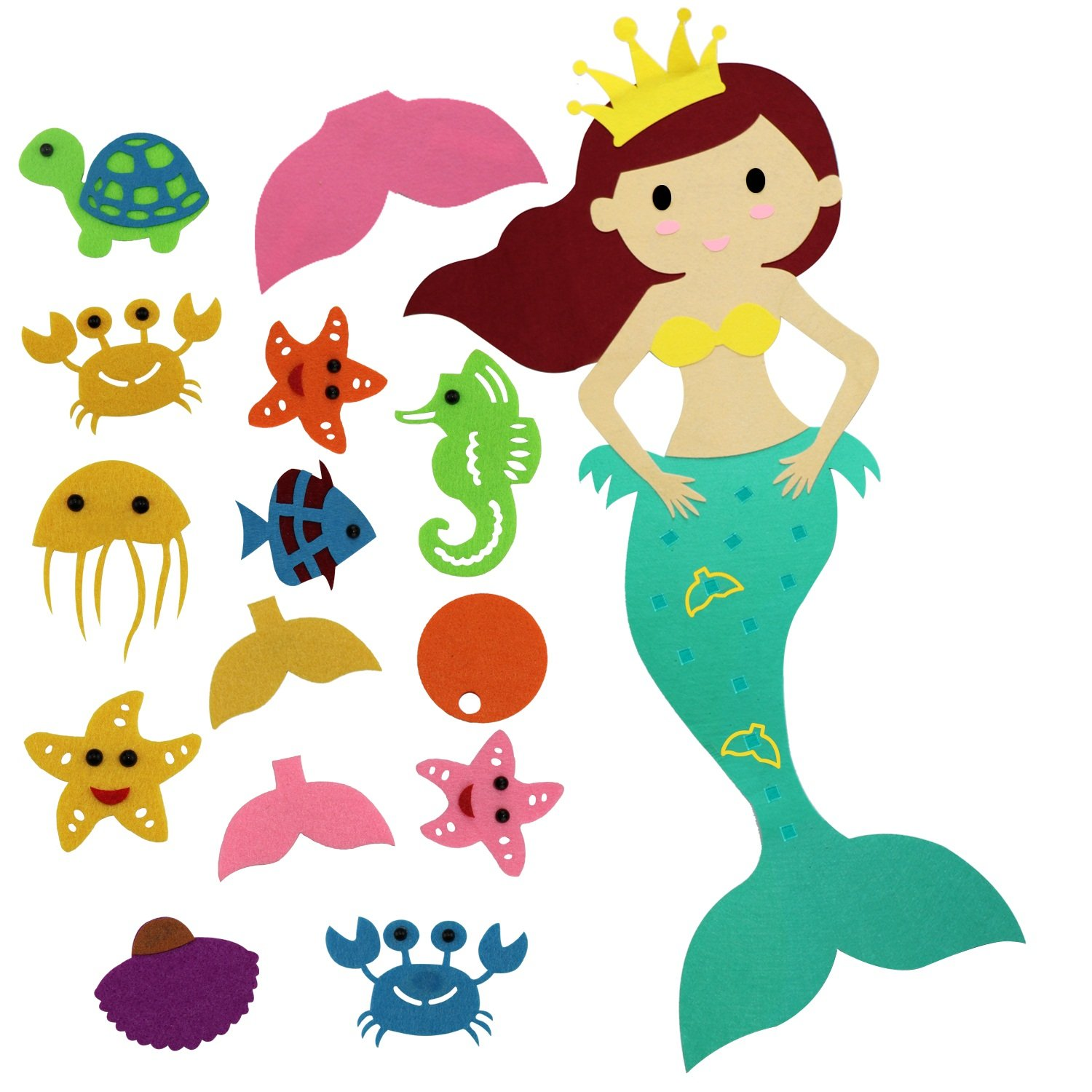 Faylapa Pin the Tail on the Mermaid Party Game with Felt Detachable Ornaments for Child Birthday Party Room Wall Hanging Decorations,14 Pcs DIY Ornaments,1 Pcs Mermaid Body(39.4inch X 17.3inch)
