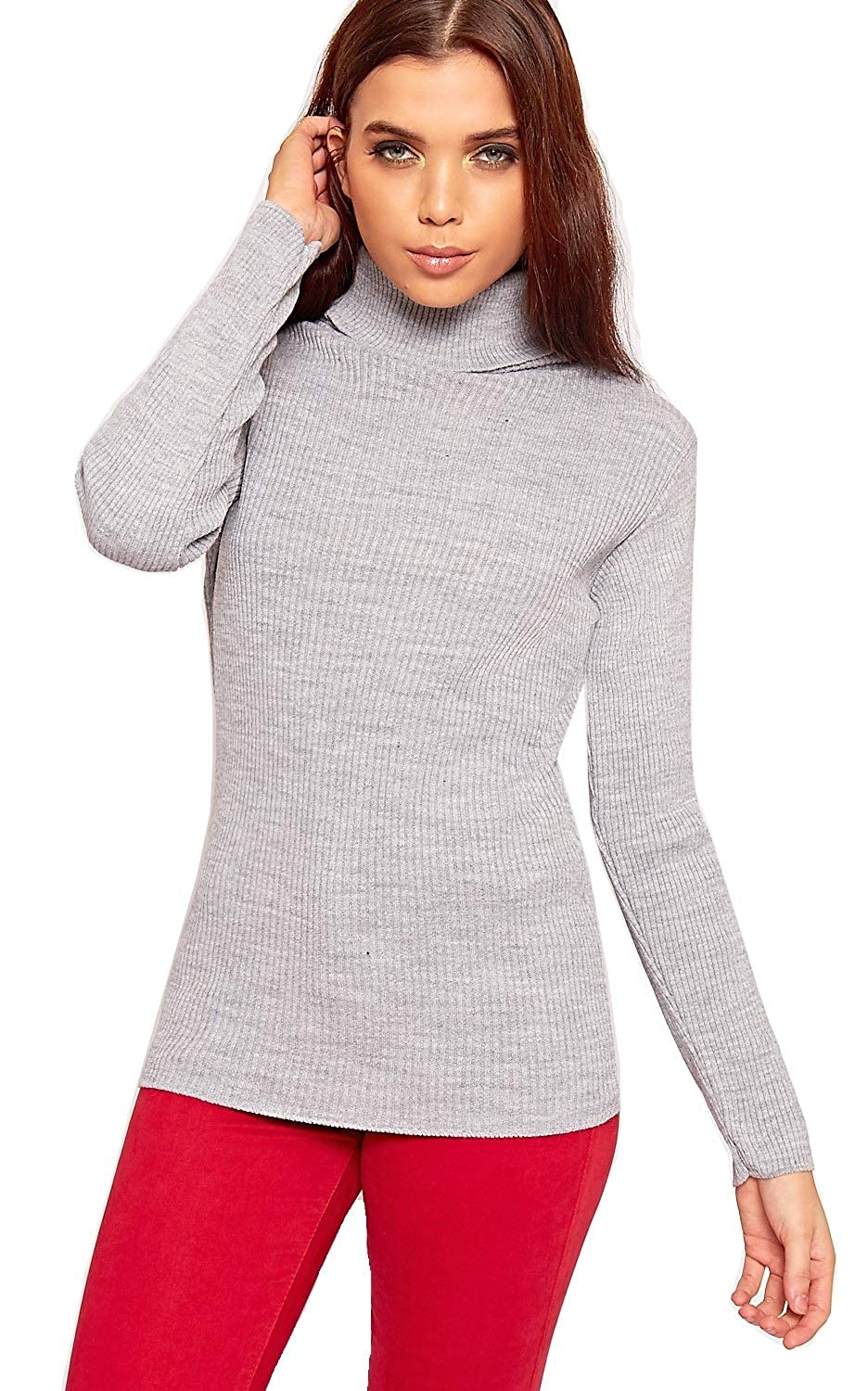 Crazy Girls Womens High Rolled Polo Neck Ribbed Knitted Jumper Top Ladies New Rib Knit Sweater Tops