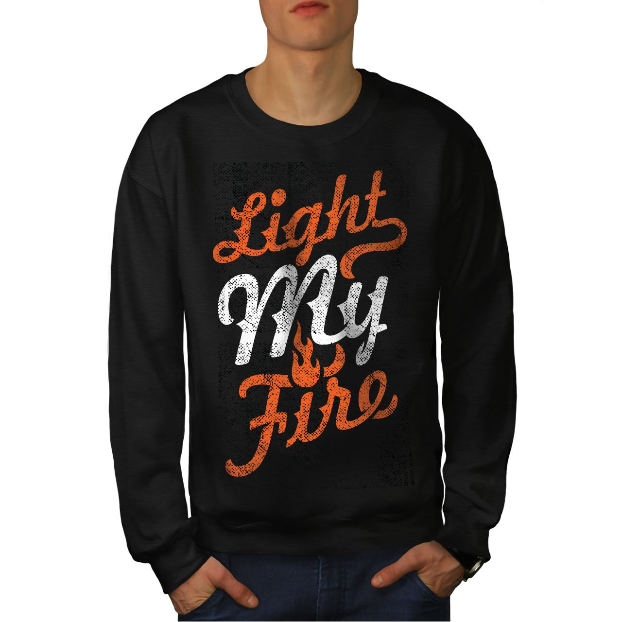 Flame Casual Jumper wellcoda Light My Fire Text Mens Sweatshirt