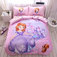 Casa 100% Cotton Kids Bedding Set Girls Sofia The First Princess Pink Duvet Cover...