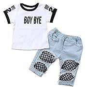 dc981da15d7f Kids Baby Girls T-Shirt Tops Summer Autumn Mesh Hole Denim Pants Jeans  Harem Leggings Outfits Clothes (White