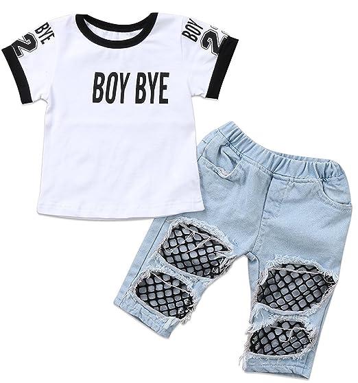 19810c68f Amazon.com: Kids Baby Girls T-Shirt Tops Summer Autumn Mesh Hole Denim Pants  Jeans Harem Leggings Outfits Clothes: Clothing