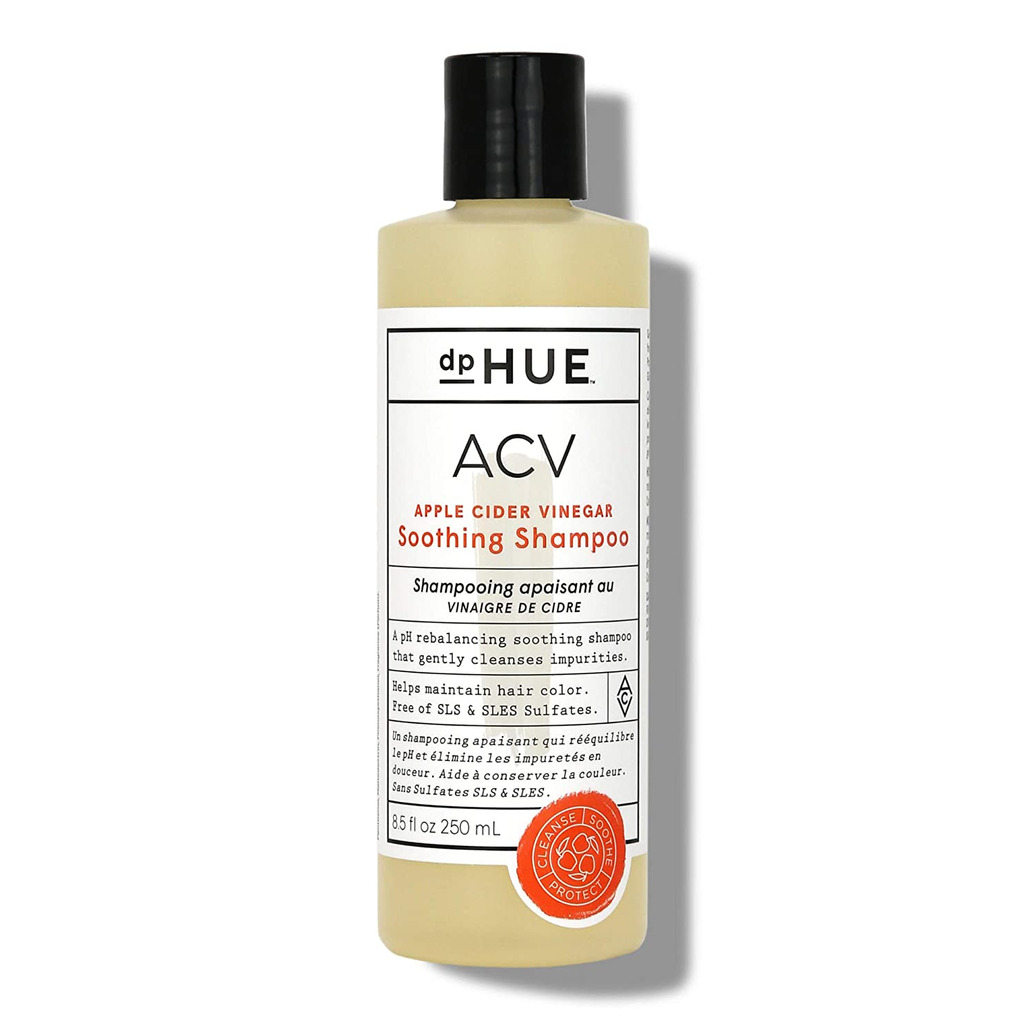 dpHUE ACV Soothing Shampoo, 8.5 oz - Sulfate Free Dry Scalp Shampoo For Color Treated Hair With Apple Cider Vinegar, Ginger Root, Lavender and Aloe
