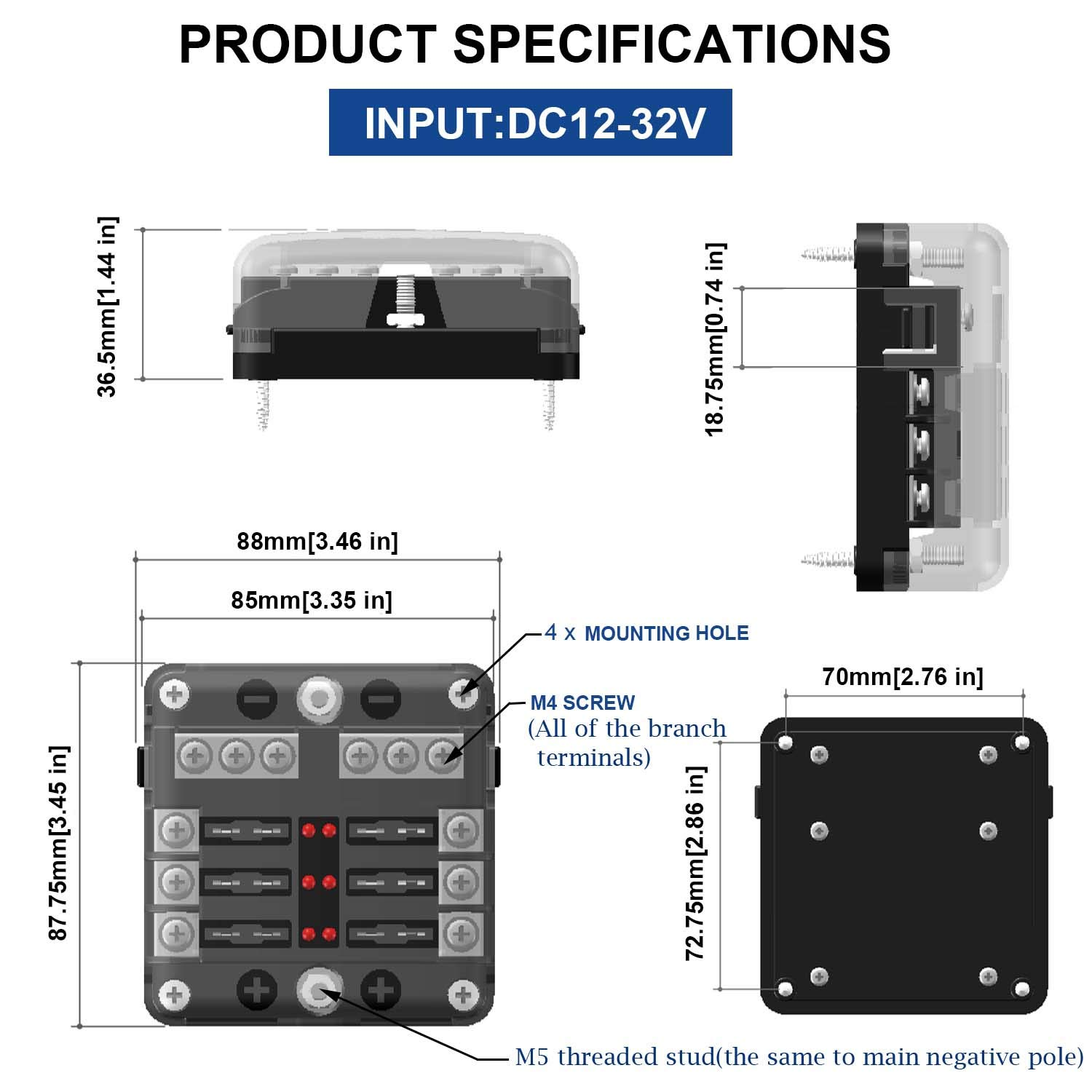Litrok Independent Positive And Negative 12 Way Blade Fuse Box With