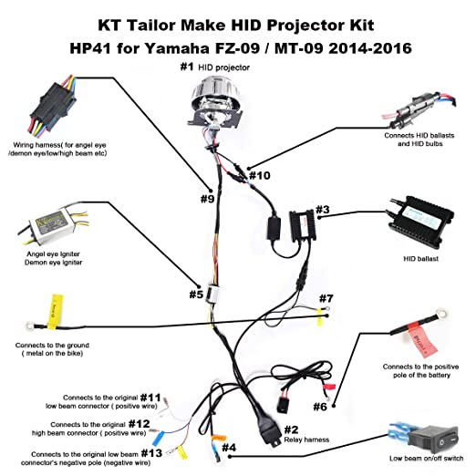 amazon com: kt tailor-made hid projector kit hp41 for yamaha fz09 / mt09  2014-2016 white angel eye: automotive