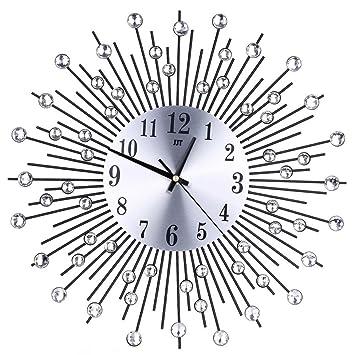 reloj de pared adhesivo grande, Sannysis reloj vintage digital cocina moderno mecanismo 3d (Negro