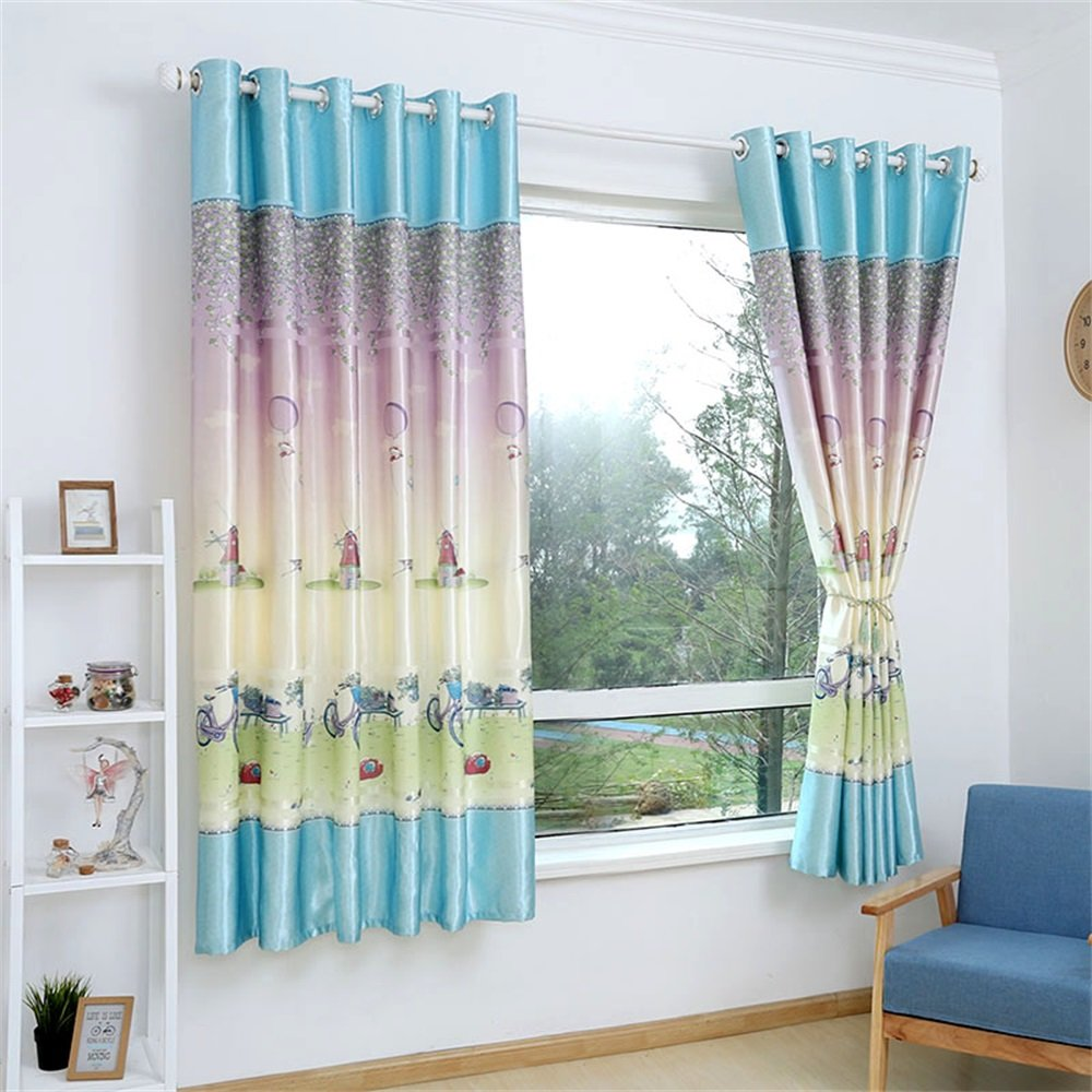 TIANTA- A Set Of 2 Pcs Bedroom living room balcony Semi-shading High glossy silk cloth Curtain Simple modern Finished product decorate ( Size : 2.92m (widthheight) )