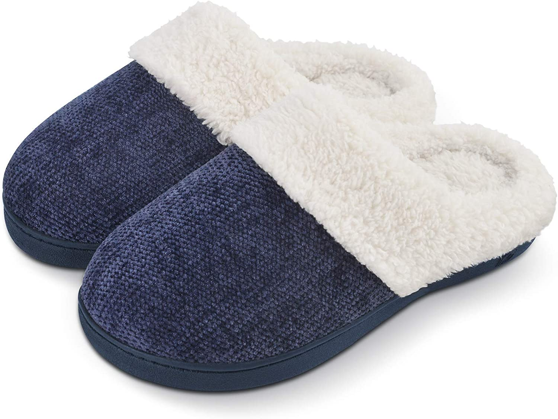 DL Women's Slippers Comfort Bubble Fleece Memory Foam House Slippers Indoor Outdoor Anti Slip Rubber Sole