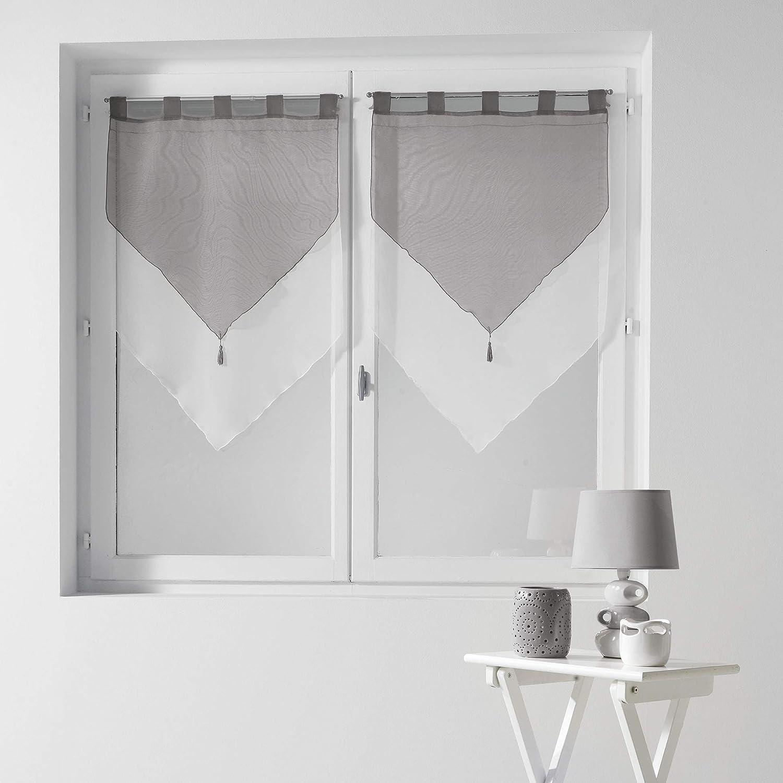 Douceur DIntérieur 1620383 - Douceur dIntérieur - Cortinas con acabado triangular, color Blanco/Gris, talla 2 x 60 x 90 cm: Amazon.es: Hogar