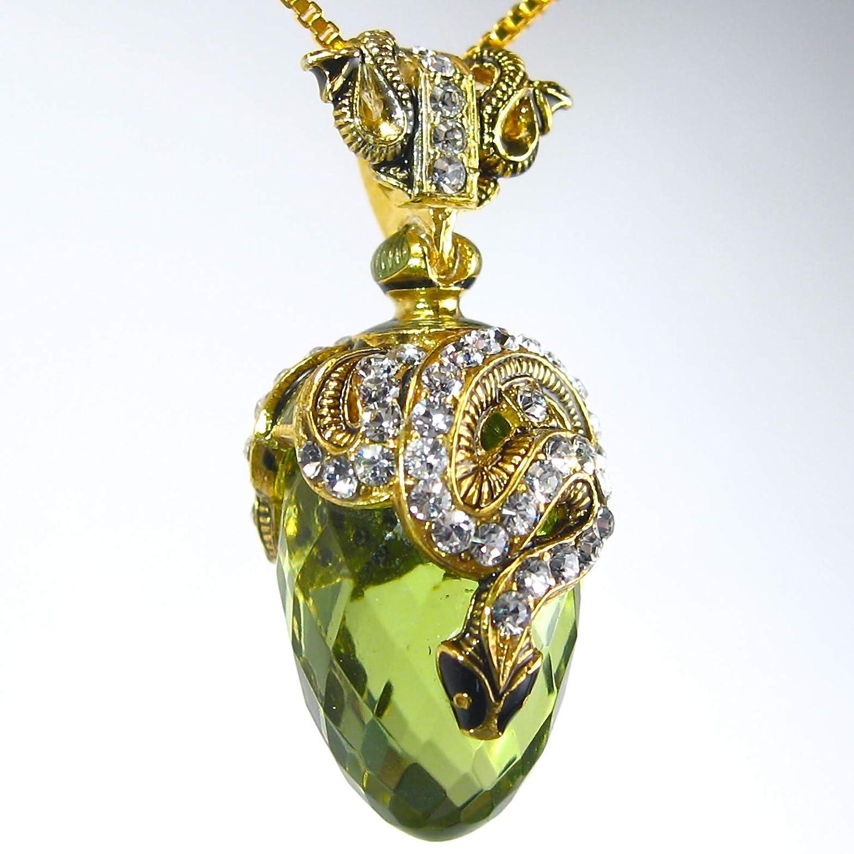 EGG Pendant Genuine Russian Necklace Swarovsky Crystals ENAMEL Amber /& Snake